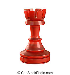 Rook Chess Piece - Red glass chess piece isolated. Clipping...