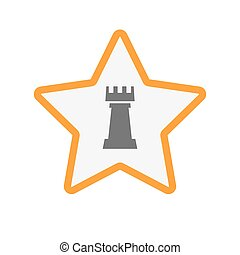 rook, estrela, isolado, figura, xadrez