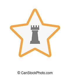 rook, ster, vrijstaand, figuur, schaakspel