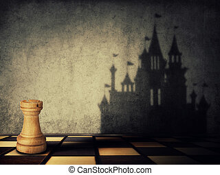 rook transformation - Rook chess piece casting a shadow in...