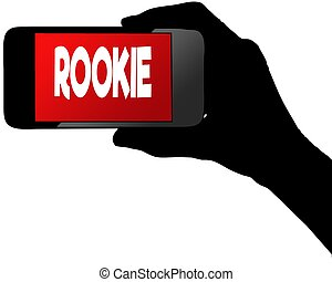 ROOKIE on red smartphone screen. Illustration graphic ...