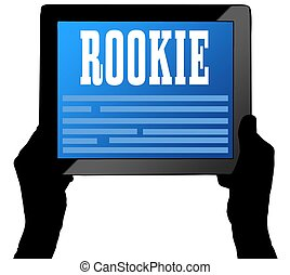 ROOKIE on tablet screen, held by two hands. Illustration