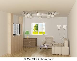 room., żyjący, wewnętrzny, image., 3d