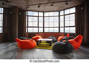 room., żyjący, wewnętrzny, nowoczesny, projektować