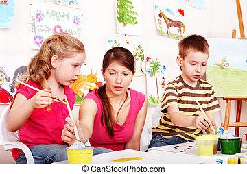 room., צייר, שחק, מורה, צבעים, ילדים