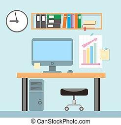 room., イラスト, オフィス, ベクトル, デザイン, 内部