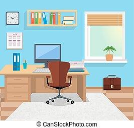 room., インテリア・デザイン, イラスト, オフィス