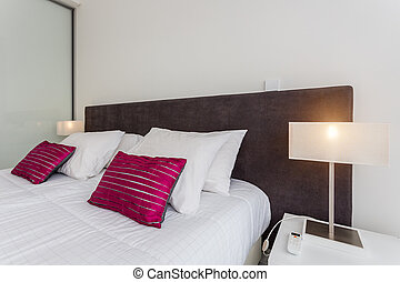 room., ホテル, ベッド, 快適である, sleeping., 寝室