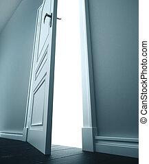 room., 開いているドア, 白