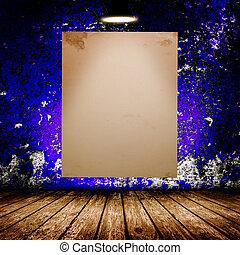 room., affisch, mörk, konkret, tom, vit