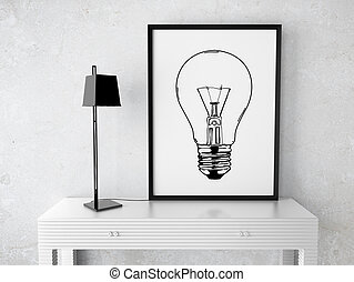 frame with drawing lamp