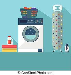 room., bucato, vettore, lavaggio, illustrazione