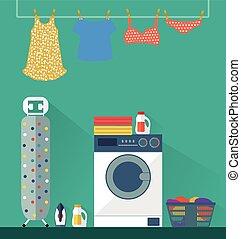 room., bucato, vettore, lavaggio