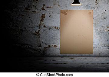 room., cartaz, branca, concreto, em branco