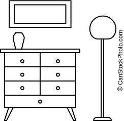 Room clothes drawer icon, outline style - Room clothes...