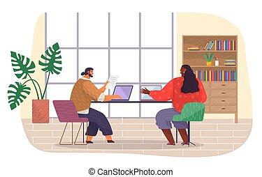 room., computador portatil, empleado, mecanografía, trabajadores, exposiciones, se sienta, de piel oscura, documento, oficina, asideros, niña
