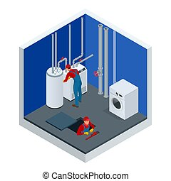 room., condensing, 労働者, ベクトル, 建設, concept., 維持, の上, ボイラー, 加熱...