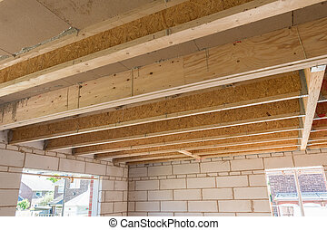 Room construction showing joists trusses