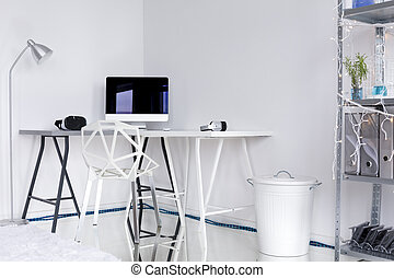 Room corner with white decorations