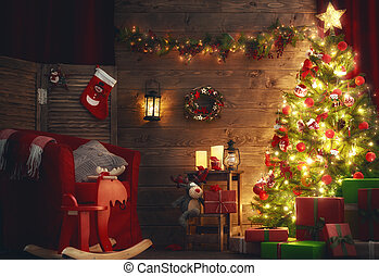 room decorated for Christmas - Happy Holiday! A beautiful...