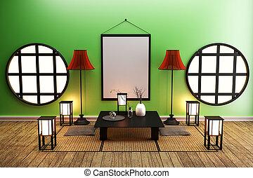 Room Design Japanese-style. 3D rendering