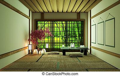 Room Design Japanese-style.3D rendering