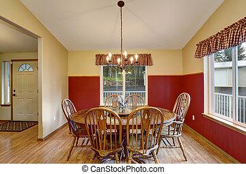 room, dinning, kamer, rood, interior.