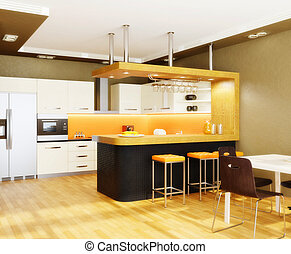 room - modern interior kitchen with nice furniture inside