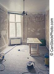 room during renovation, home refurbishing , vintage filter -...