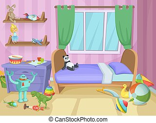 Room for kids with funny toys on the floor. Childrens playing. Vector illustration
