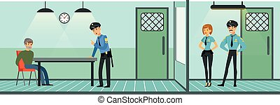 Room for questioning a suspect in a police station, policemen at work, police department interior vector Illustration in flat style, web design