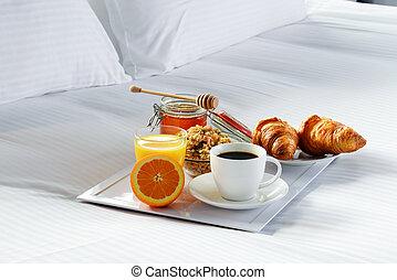 room., frukost, hotell, säng