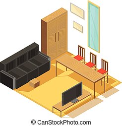 Room Furniture Isometric Composition