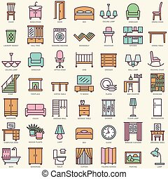 Room furniture linear color icons set