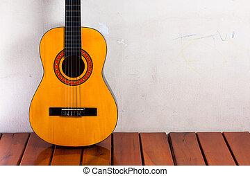 room., guitarra, vazio, clássico