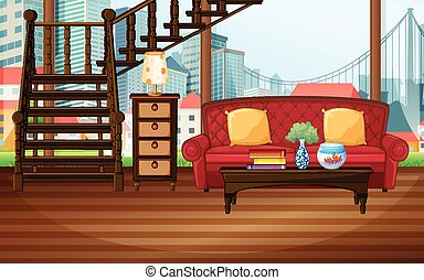 Room - Illustration of a living room with city view