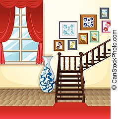 illustration of a room with stairs