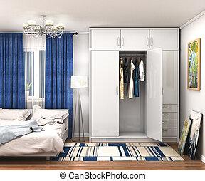 room., illustrazione, grande, guardaroba, bianco, 3d