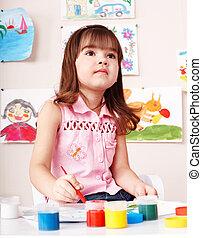 room., image, jeu, brosse, enfant