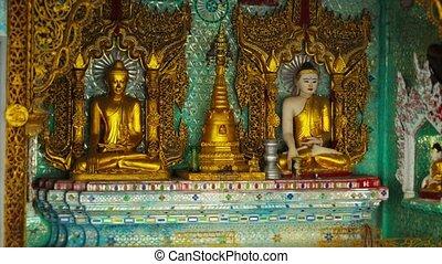 Room in a Buddhist temple. Burma, Yangon - 4k video - Room...