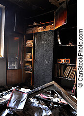 Room interior after house fire