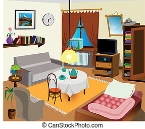 Room interior color illustration. All objects are there. ...