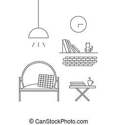 Room Interior Design. Line vector illustration.