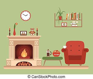 Room interior design with fireplace