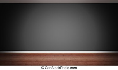 Room interior, empty black wall and wooden floor