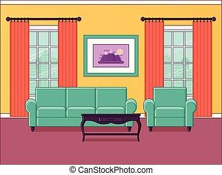 Room interior. Flat design. Vector illustration.