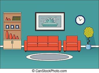 Room interior in flat design. Vector illustration.