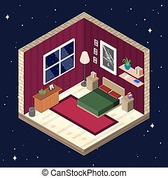 Room interior in isometric style. Bedroom with furniture vector illustration