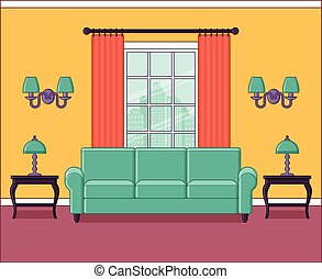 Room interior in line art. Flat design. Vector illustration.
