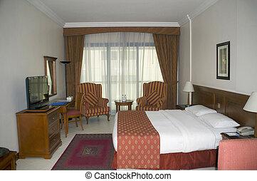 Room interior of a service apartment hotel, India